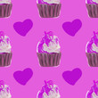canvas print picture - Seamless pattern with cupcakes,muffins on lilac background. decorated with white and red cream for print, package design, wrapping, textile