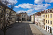 Empty Lviv streets during COVID-19 Quarantine. View on Lviv Market square from drone