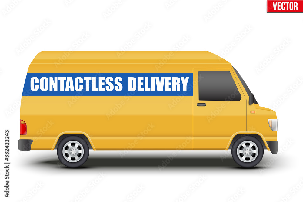 Fototapeta Contactless delivery curier transport. Yellow van with Contactless delivery tag. Vector illustration Isolated on white background.