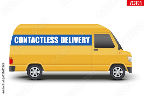 Obraz Contactless delivery curier transport. Yellow van with Contactless delivery tag. Vector illustration Isolated on white background. - fototapety do salonu