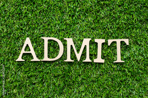 Photo Wood alphabet letter in word admit on green grass background