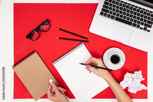 Obraz top view of an office desk with stationery for an office worker - fototapety do salonu