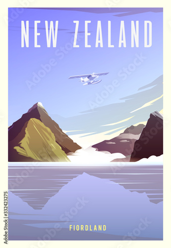 Obraz Time to travel. Around the world. Quality vector poster. National park Fiordland. - fototapety do salonu
