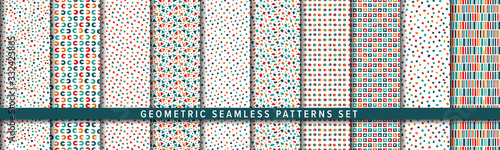 Fototapeta Geometric seamless pattern set. Vector background. Orange and Brown. 幾何学パターンセット obraz