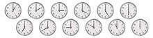 Set Of Round Clocks Showing Va...