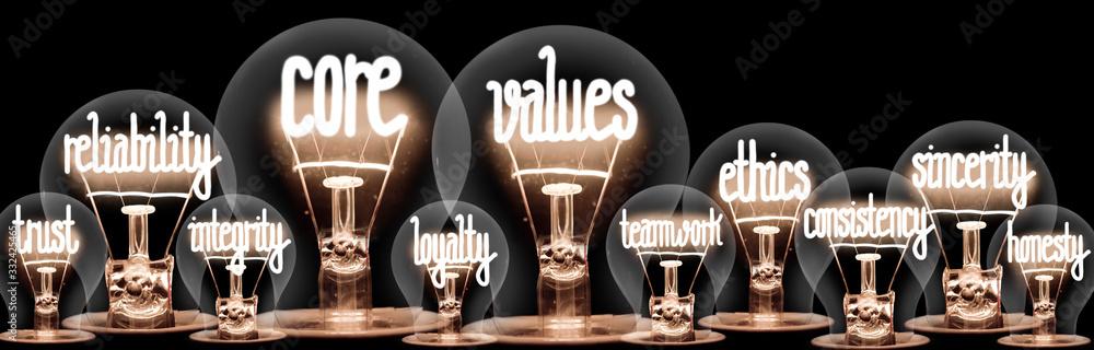 Fototapeta Light Bulbs with Event Management Concept