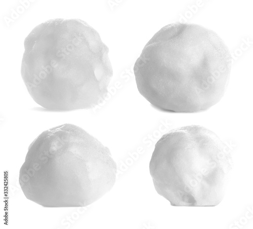 Fotografie, Obraz Set snowball isolated on white, with clipping path