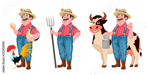 Fotografia, Obraz Farmer cartoon character, set of three poses