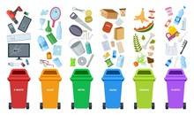 Waste Bins. Flat Recycling Con...