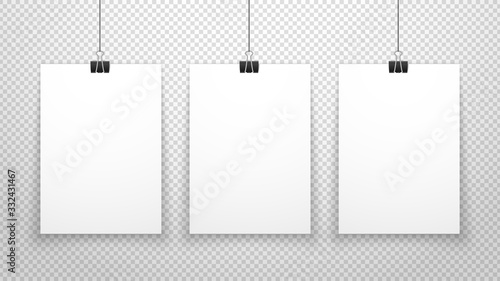 Paper poster. White blanks sheets hanging on wall. Three posters template isolated on transparent background. Vector clean mockup. Blank paper poster, showing collection gallery mockup illustration