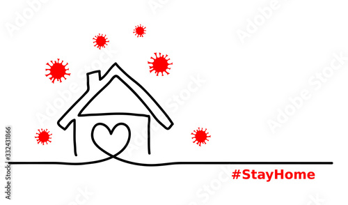 Fototapeta Stay home simple, minimalist black ,red, white web banner,illustration with home and virus. One continuous line drawing. Stay home hashtag. obraz