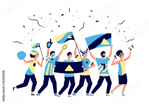 Obraz Sport fans. Adults football lovers, cheering with soccer team. Men women, fanatic crowd with flags. Active team support vector illustration. Football fan soccer, cheering shouting, cheer championship - fototapety do salonu