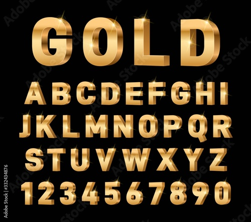 Gold 3d font. Glossy rich alphabet, trendy metal expensive typography elements. Luxury exclusive letters and numbers. Golden text vector set. Typography golden alphabet, typographic illustration