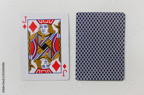 Fototapeta Playing cards deck isolated on white empty background