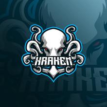 Kraken Mascot Logo Design Vector With Modern Illustration Concept Style For Badge, Emblem And Tshirt Printing. Octopus Illustration For Sport And Esport Team.