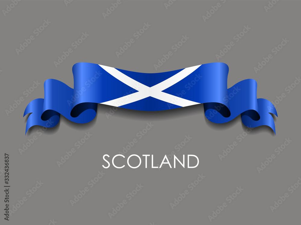 Fototapeta Scottish flag wavy ribbon background. Vector illustration.
