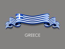 Greek Flag Wavy Ribbon Backgro...