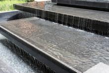 Water Feature Cascade As Part Of Landscape Design.