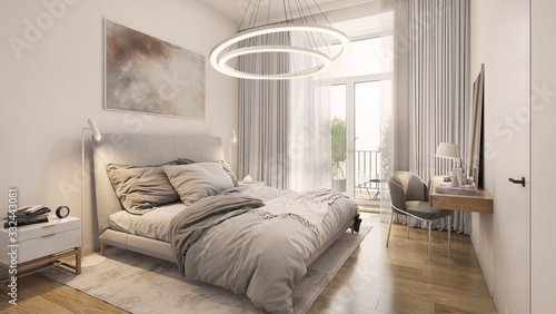 Interior of a modern bedroom showcase Fototapeta