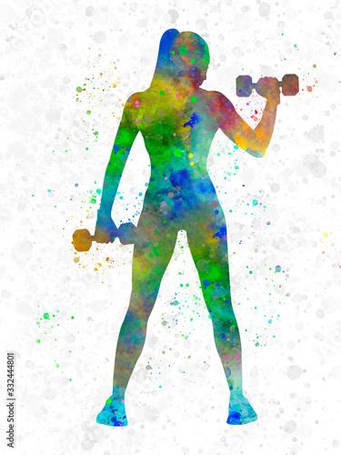 Plakat Kobieta ćwicząca fitness w akwareli