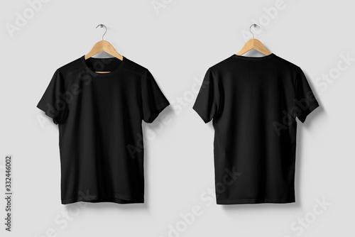 Fototapeta Black T-Shirt Mock-up on wooden hanger, front and rear side view. High resolution. obraz