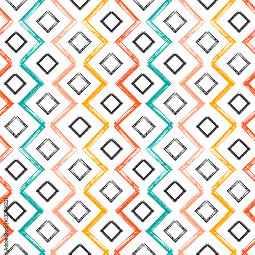 Fototapety Geometryczne   colorful-squares-and-zigzag-paint-brush-strokes-seamless-pattern-vector-abstract-grunge-b