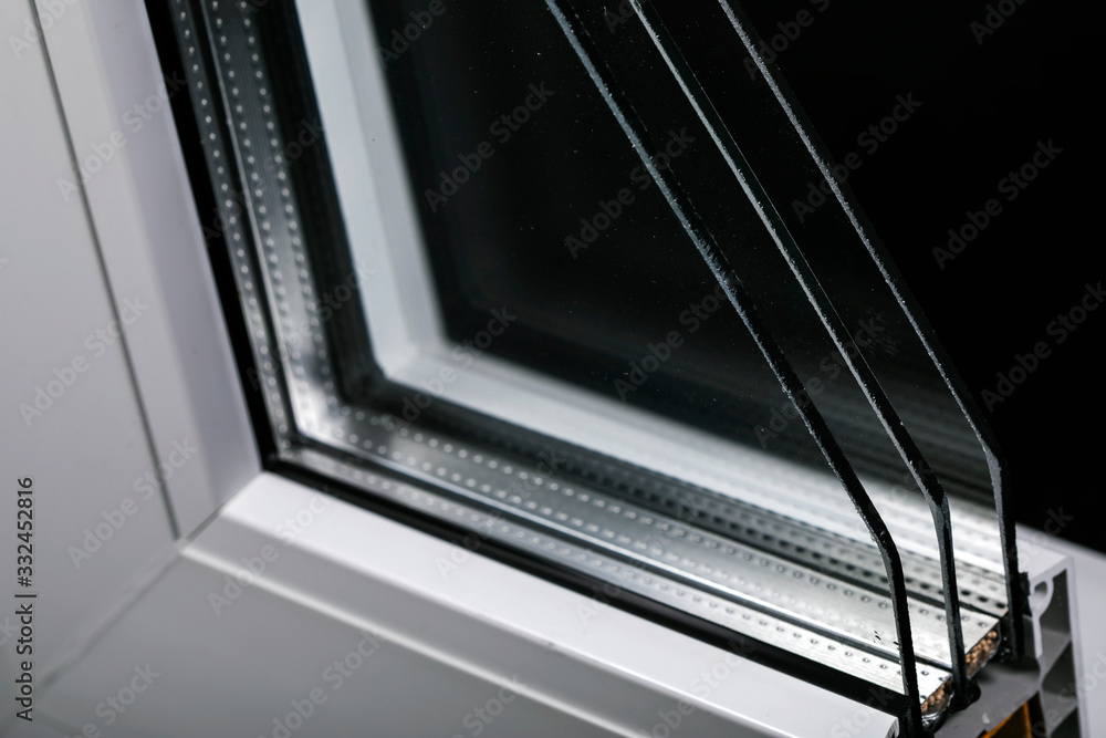 Fototapeta Plastic window profile with triple glazing