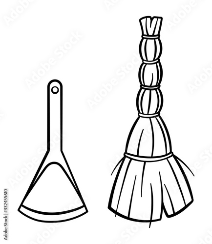 Cartoon isolated besom and dustpan for cleaning in black lines on white backgrou Wallpaper Mural