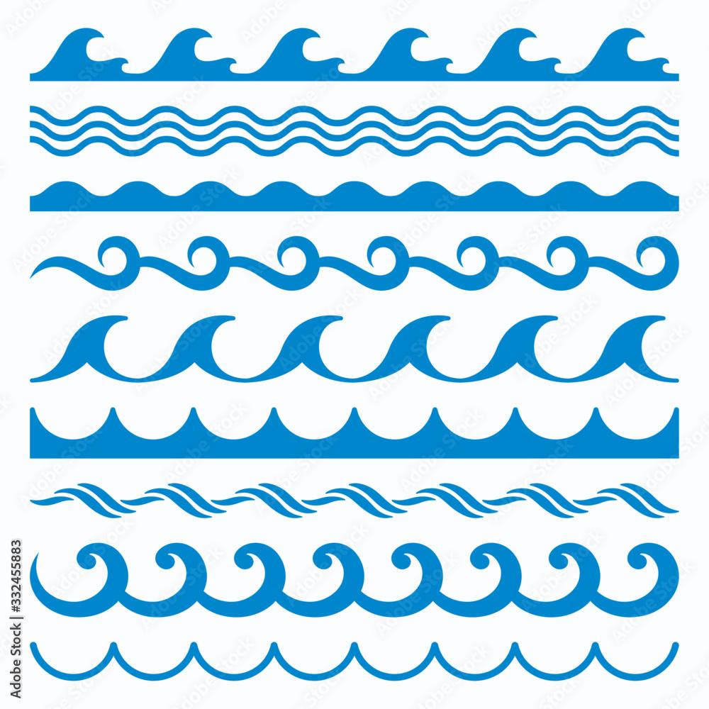 Fototapeta Sea Water Waves Vector Set