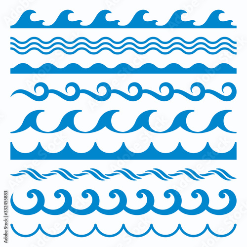 Sea Water Waves Vector Set Wallpaper Mural
