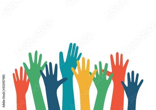 Fototapeta Hands up vector illustration with different skin color. Raised hands vector concept. Volunteering charity, party, votes, donation, team, help, friendship. Isolated on white background obraz