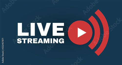 Live streaming logo with play button Fototapeta