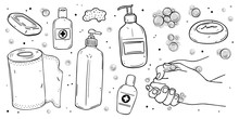 Hand Washing, Sanitizer, Disposable Towels, Soap For The Prevention Of Viral Infections.