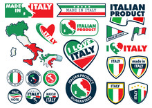 Set Of Badges With Flag Of Ita...