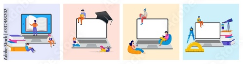 E-learning, online education at home. Modern vector illustration concepts for website and mobile website development - 332463202