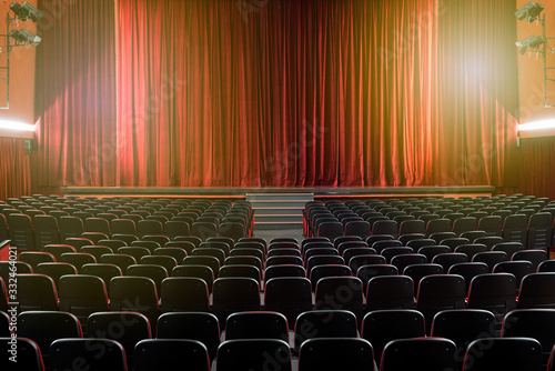 Large illuminated theatre hall with empty seats Canvas Print