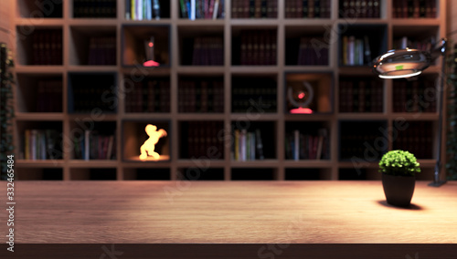 Papel de parede Wooden desk, plant and table lamp front of bookshelf from library
