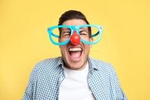 Joyful Man With Funny Glasses ...