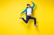 jumping man on yellow background