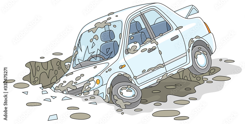 Fototapeta New white car had an accident in a giant dirty and deep pothole on a broken road, vector cartoon illustration isolated on a white background