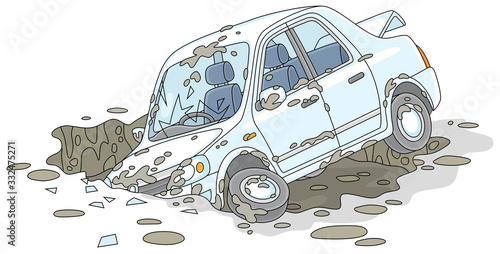 Obraz New white car had an accident in a giant dirty and deep pothole on a broken road, vector cartoon illustration isolated on a white background - fototapety do salonu