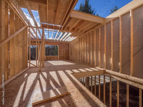 Fotografie, Obraz View of interior construction framing of new housing