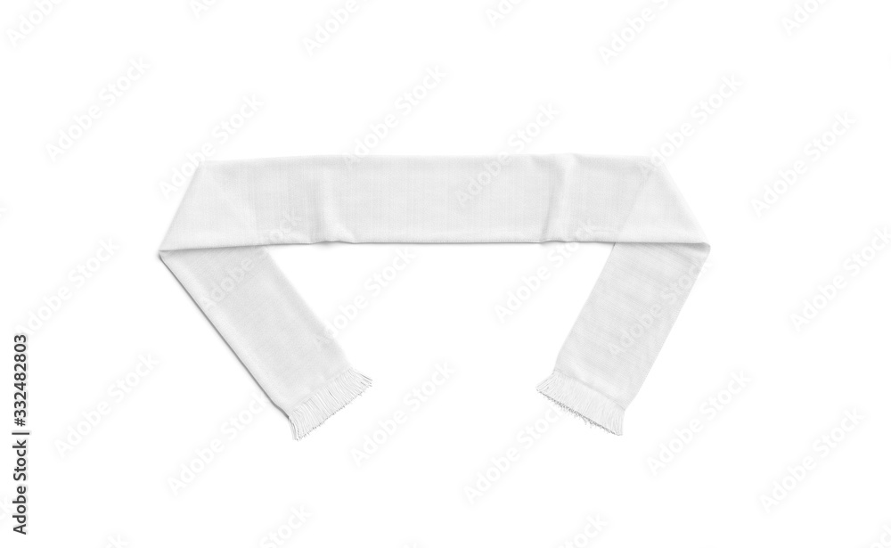Fototapeta Blank white knitted soccer scarf mock up, top view