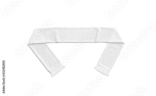 Fototapeta Blank white knitted soccer scarf mock up, top view obraz