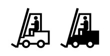 Fork Lift Truck Icon Vector Black Silhouette Isolated On White