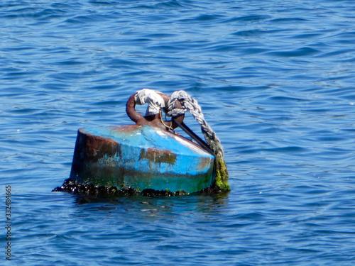 Boya para amarrar barcos  en un puerto gallego. Canvas Print