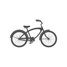 Male Cruiser Bike Simple Icon Isolated On White Background.