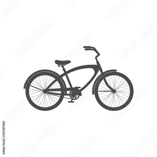 Fotografie, Obraz Male cruiser bike simple icon isolated on white background.