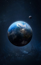 Earth And Moon In The Space Vertical Wallpaper. Deep Outer Cosmos. Elements Of This Image Furnished By NASA