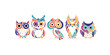 Cute owls family. Colorful style for your design